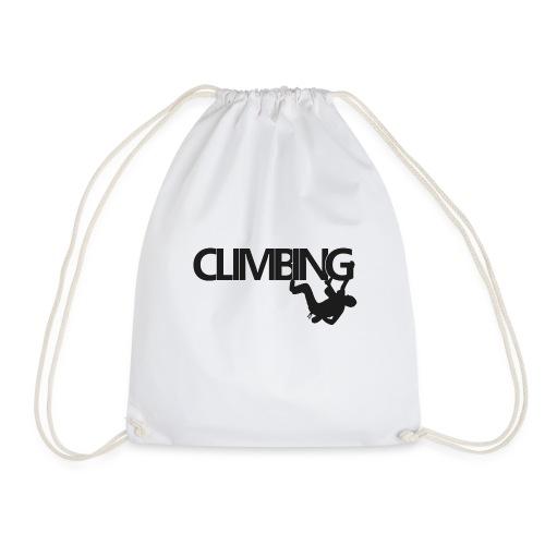 climbing-Schriftzug mit Kletterer - Turnbeutel