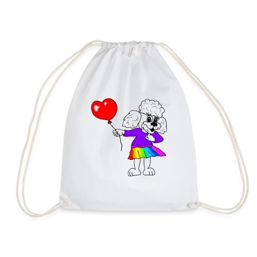 Pudelmädchen mit Herz-Luftballon - Turnbeutel