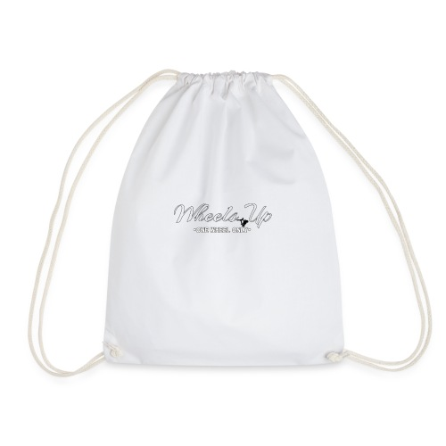 wheels up black figure - Drawstring Bag