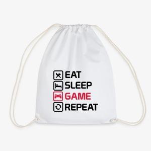 eat sleep game repeat - Drawstring Bag
