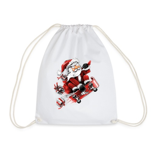Santa Skateboarding - Drawstring Bag