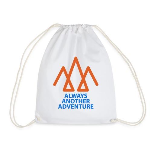 Orange logo, blue text - Drawstring Bag
