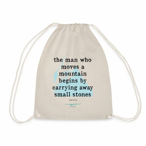 Confucius` Quote - The man who moves a mountain - Drawstring Bag