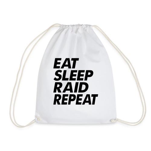 Eat Sleep Raid Repeat Black - Drawstring Bag