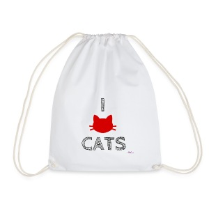 i love cats (black) - Sacca sportiva
