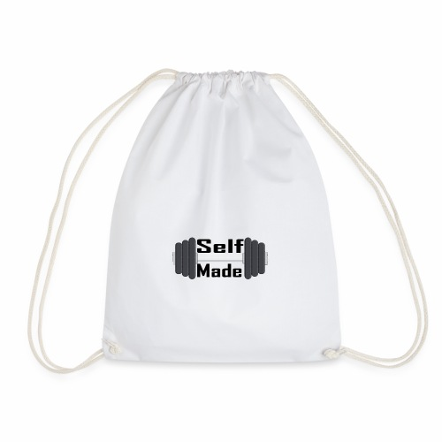 Self Made Black Text - Drawstring Bag