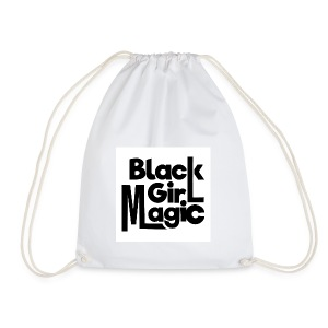 Black Girl Magic 2 Black Text - Drawstring Bag