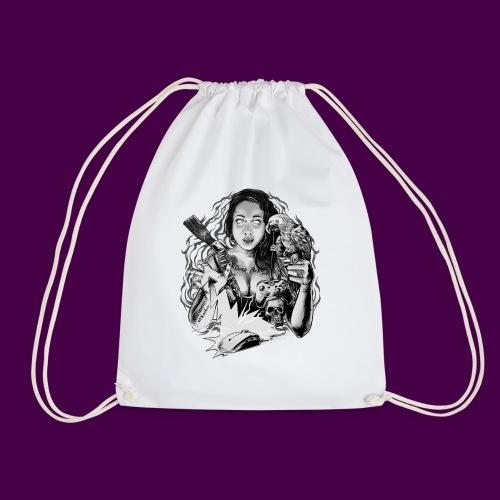 black and white - Drawstring Bag