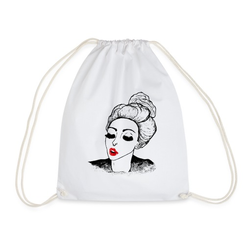 Vintage Retro Girl Kiss message - Drawstring Bag