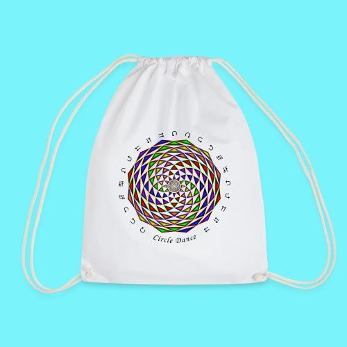 Mandala with Circle Dance words and glyphs - Drawstring Bag