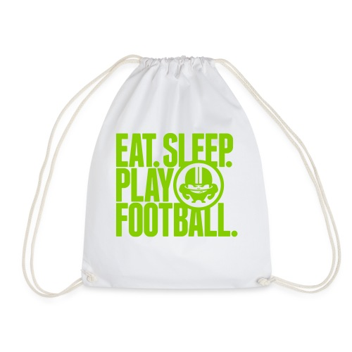 EAT. SLEEP. PLAY FOOTBALL. GREEN/WHITE - Turnbeutel