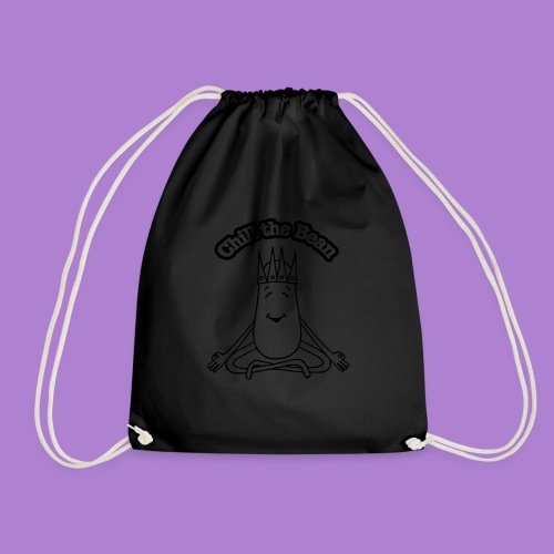 Chill the Bean black outline - Drawstring Bag