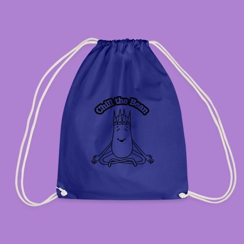 Chill the Bean black outline - Drawstring Bag