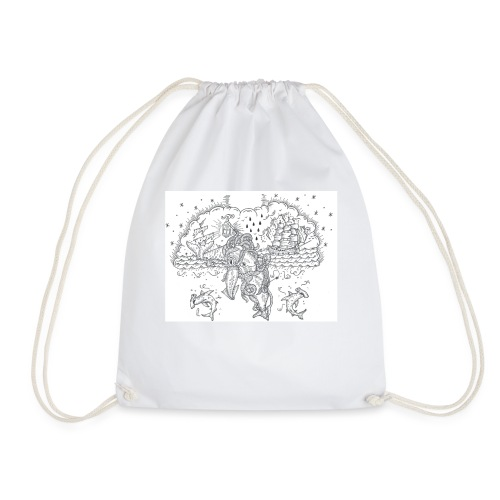 Skrimshaw Whale - Drawstring Bag