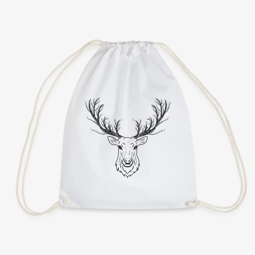 Stag with Tree Antlers - Drawstring Bag