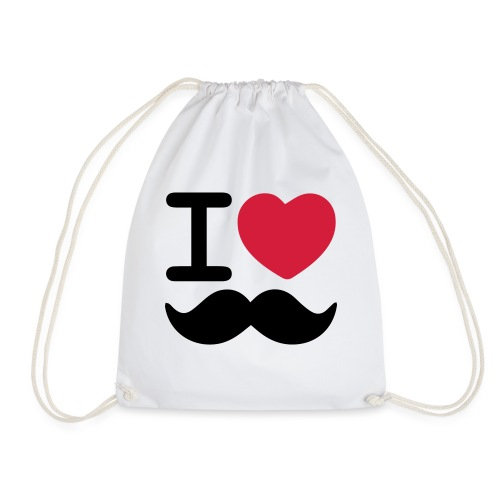 I Love Moustaches - Drawstring Bag