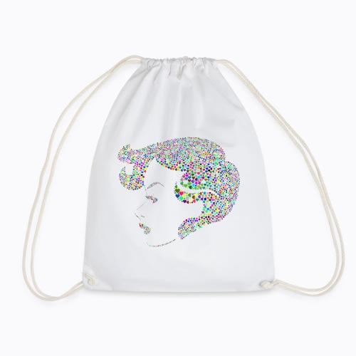 woman colorful - Drawstring Bag