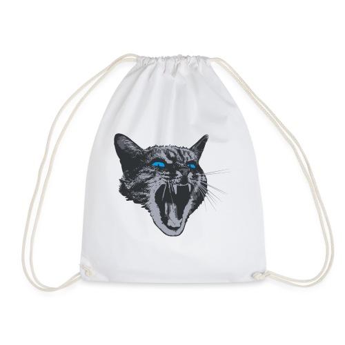 Really angry kitty cat - Drawstring Bag