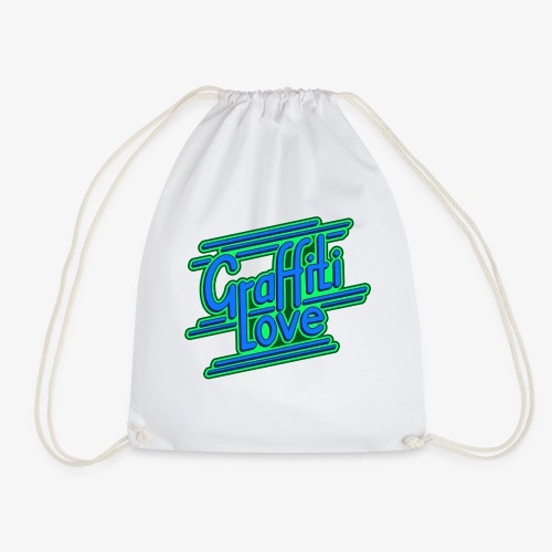 graffiti love type1 blue - Turnbeutel