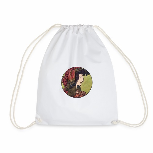 Alphonse Maria Mucha Stained Glass #6 - Drawstring Bag