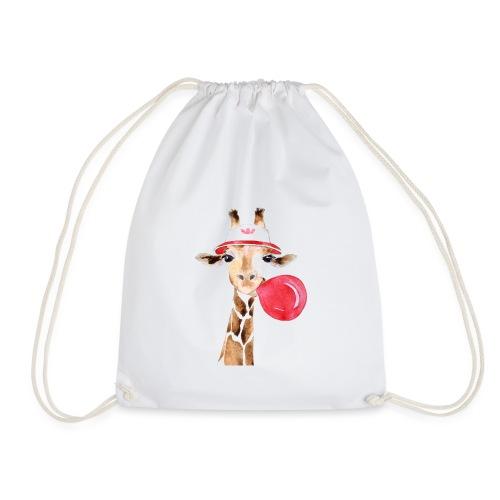 Giraffe mit Kaugummi - Turnbeutel