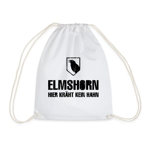 elmshorn kraehe w b transparent - Turnbeutel