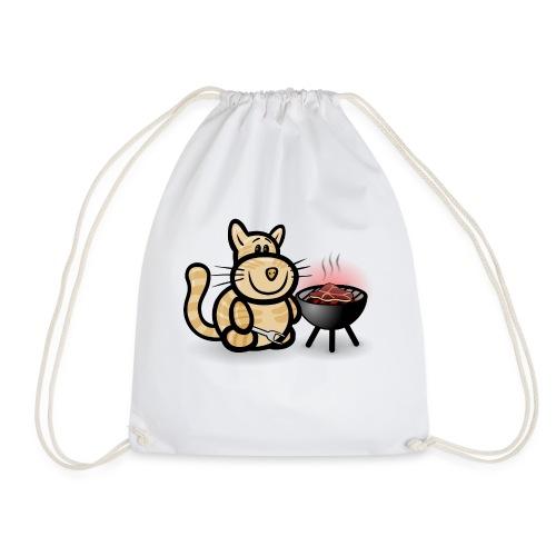 Katze beim Grillen - Turnbeutel