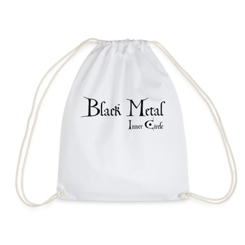 black metal Inner Circle, black ink - Drawstring Bag