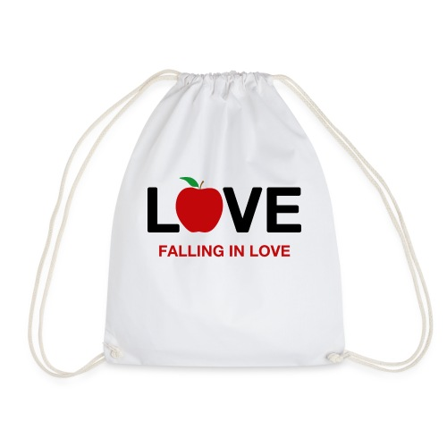 Falling in Love - Black - Drawstring Bag