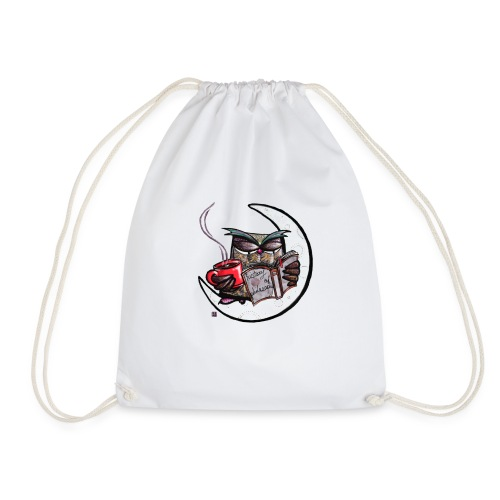 Owl With Coffee - Drawstring Bag