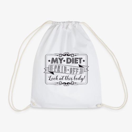 Handlettering My diet paid off (zwart) - Gymtas