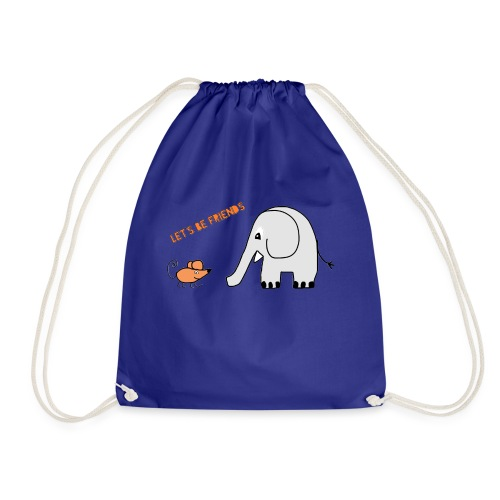 Elephant and mouse, friends - Drawstring Bag
