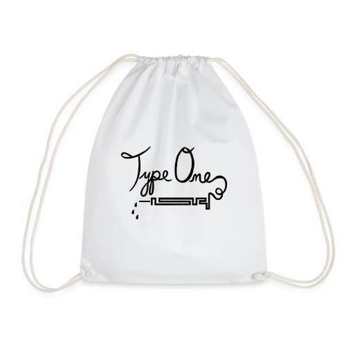 Type One Diabetes - Needle Design - Black - Drawstring Bag