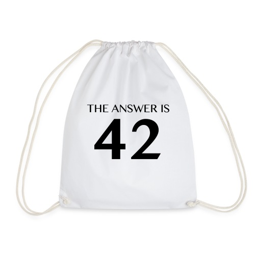 The Answer is 42 Black - Drawstring Bag