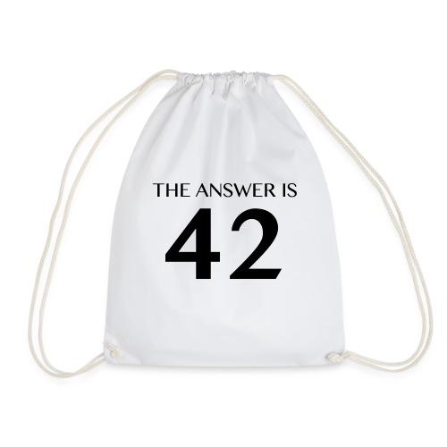 The Answer is 42 Black - Drawstring Bag