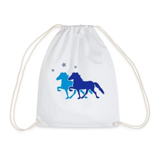 Two Horses with silver-metallic Stars - Drawstring Bag