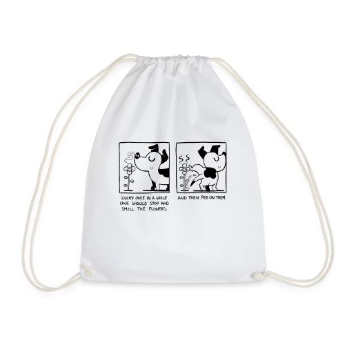 Dog Peeing on Flower - Drawstring Bag
