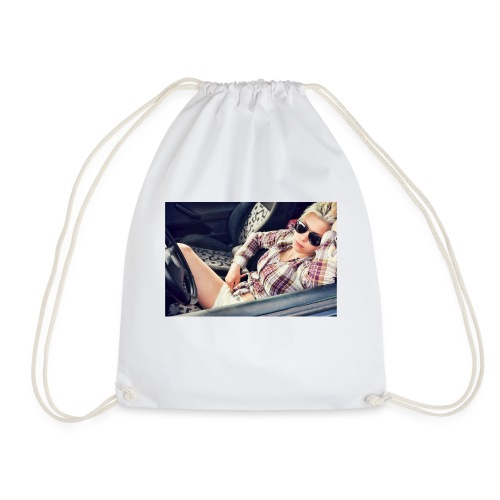 Cool woman in car - Drawstring Bag