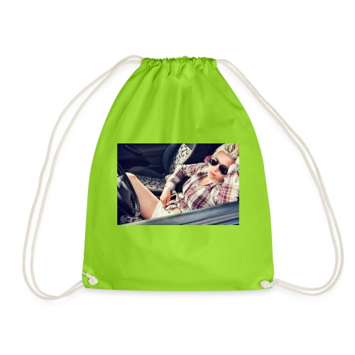 Cool woman in car - Drawstring Bag