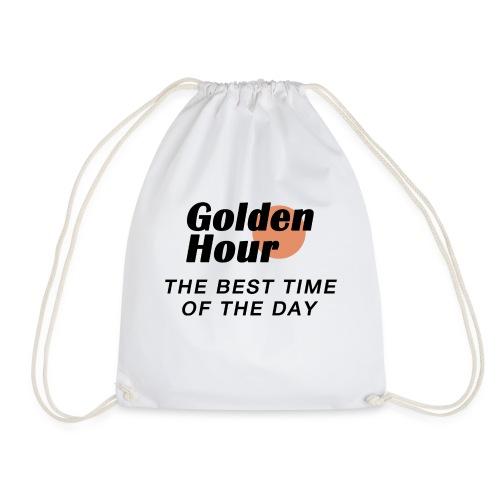 Golden Hour logo & slogan - Drawstring Bag