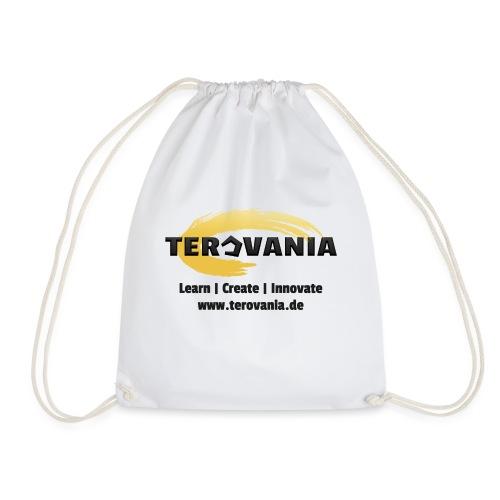 Terovania Logo mit Motto & URL - Turnbeutel