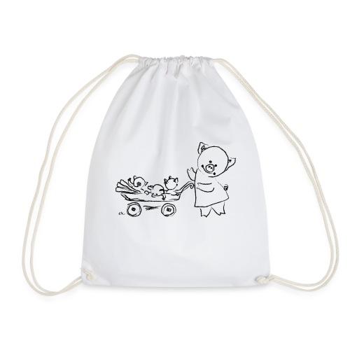 mama pig with 3 piglets - Drawstring Bag