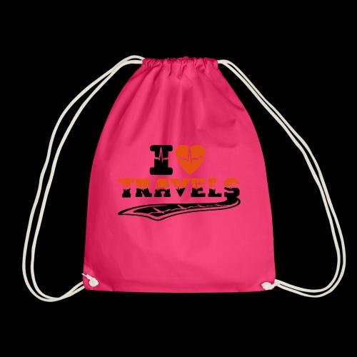 i love travels surprises 2 col - Drawstring Bag