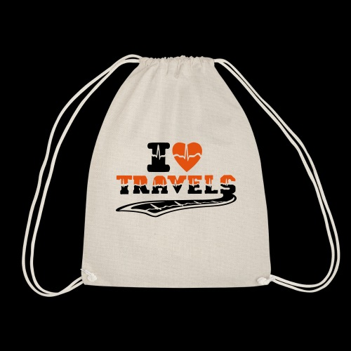 i love travels surprises 2 col - Drawstring Bag