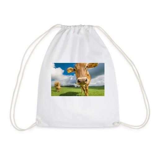 cow switzerland pasture green meadow clouds - Turnbeutel