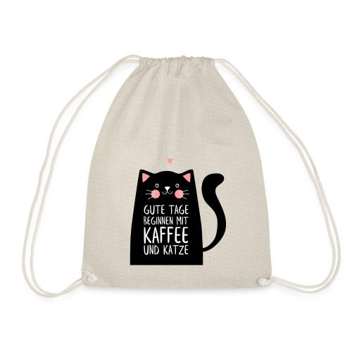 Gute Tage starten mit Kaffee und Katze - Turnbeutel