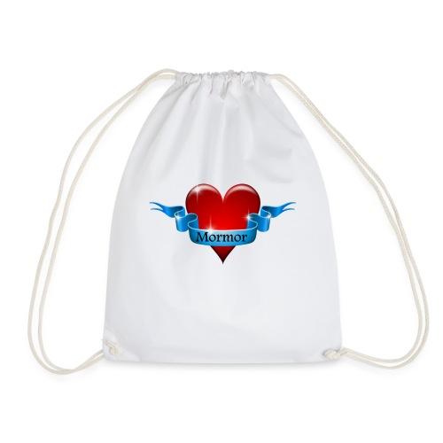 Mormor skrevet på blåt bånd om rødt hjerte - Sportstaske