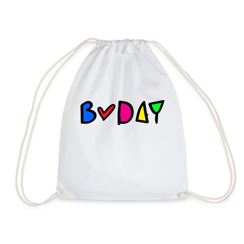 b-day colorful typo - Drawstring Bag