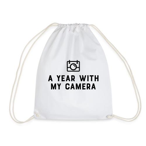 Charcoal AYWMC logo & text stacked - Drawstring Bag