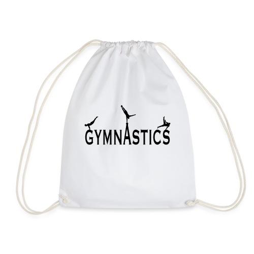 Male Gymnastics With Black Silhouttes - Drawstring Bag